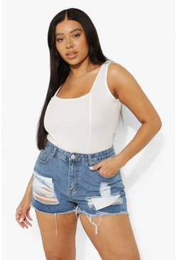 Mid wash blue Plus Ripped High Waist Denim Shorts