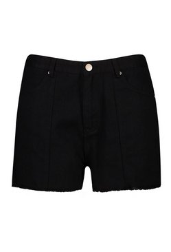 Black Plus Raw Edge Denim Shorts