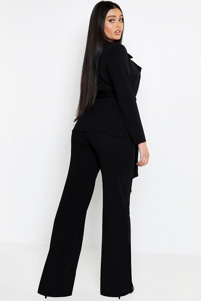 Ensemble blazer noué à la taille & pantalon coupe large