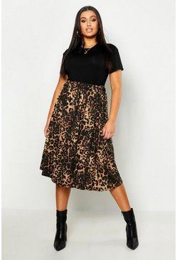 Brown Plus Jersey Animal Print Midi Skater Skirt