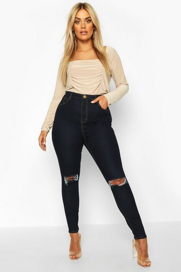 Dark blue blue Plus High Waist Distressed Skinny Jean