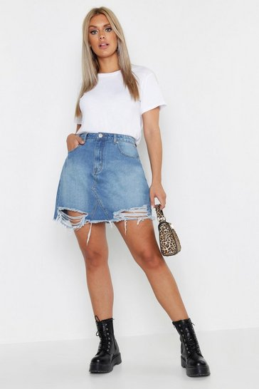 Mid blue blue Plus Distressed Hem Denim Skirt