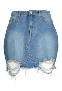 Mid blue Plus Distressed Hem Denim Skirt