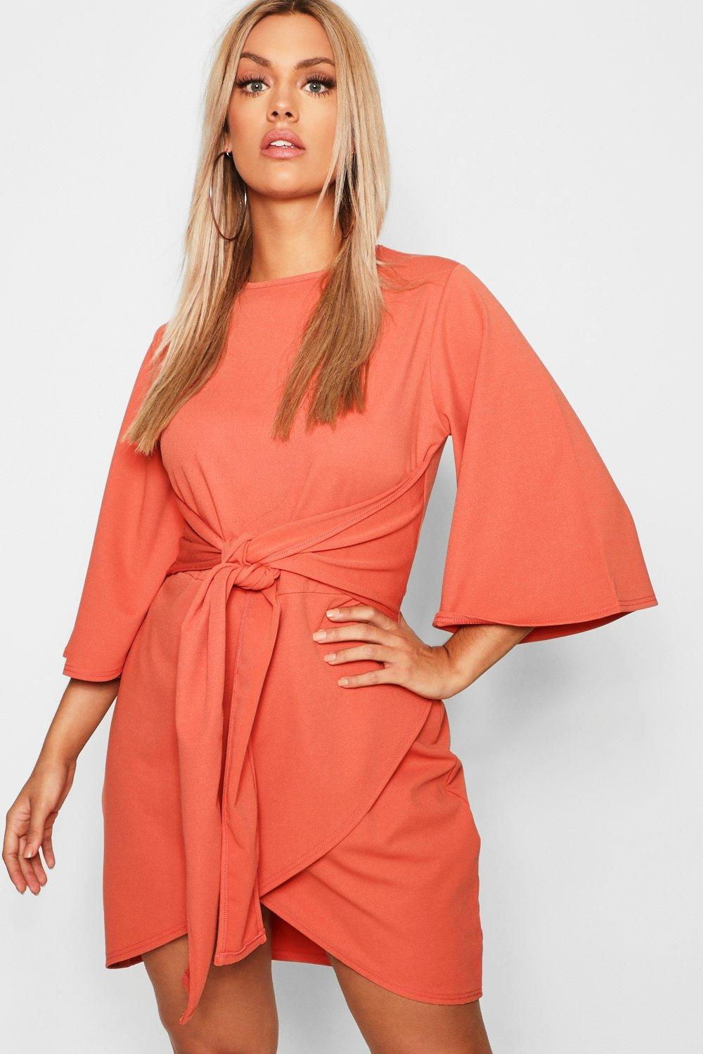 Plus Kimono Sleeve Tie Waist Wrap Dress 8
