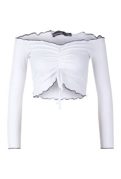 White Petite Contrast Binding Rib Ruched Top