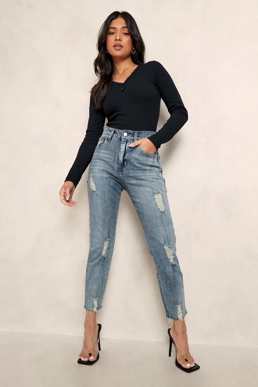 Petite Jeans Petite Distressed Hem Straight Leg Jean