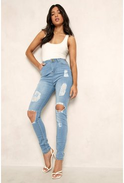 Light blue Petite One Button Distressed Skinny Jean