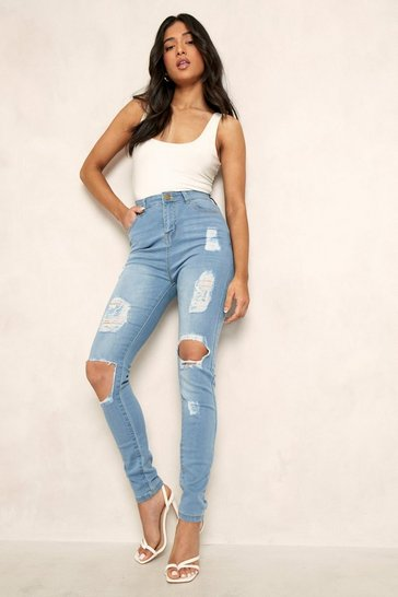 Light blue blue Petite One Button Distressed Skinny Jean