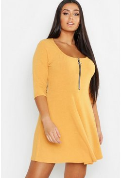 Mustard yellow Plus Soft Rib Zip Front Skater Dress