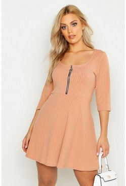 Stone beige Plus Soft Rib Zip Front Skater Dress