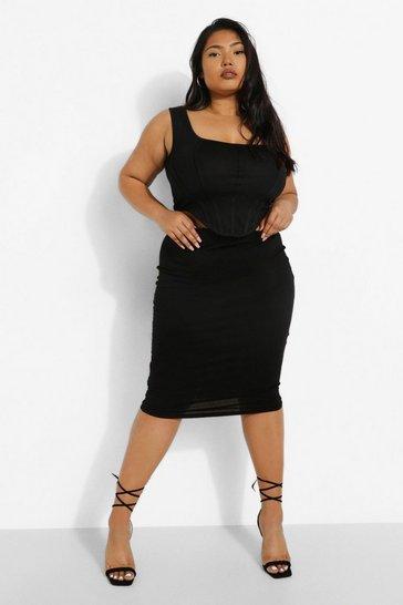 Black Plus Midi Tube Skirt