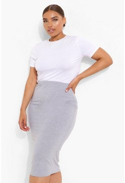 Grey Plus Midi Tube Skirt