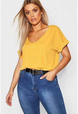 Mustard Plus Basic Rib Oversized T-Shirt