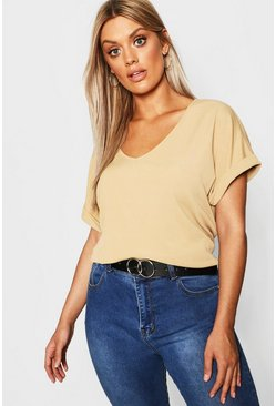 Taupe Plus Basic Rib Oversized T-Shirt