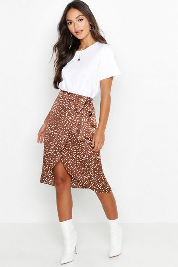 Chocolate brown Petite Printed Satin Wrap Skirt