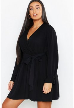 Black Plus Wrap Tie Waist Skater Dress