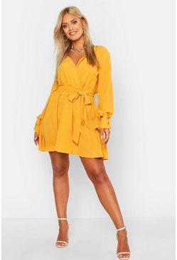 Mustard yellow Plus Wrap Tie Waist Skater Dress