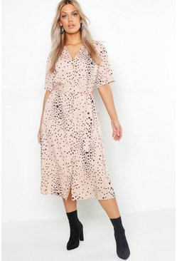 Blush pink Plus Star Print Button Detail Midi Dress