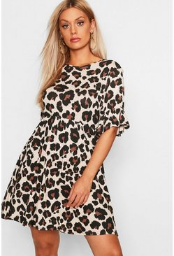 Tan brown Plus Leopard Print Smock Dress