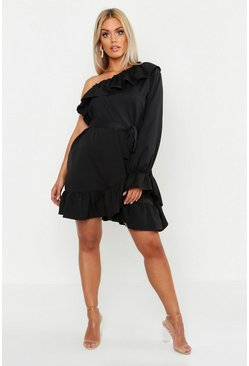Black Plus One Shoulder Ruffle Tie Waist Dress