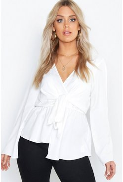 Ivory white Plus Twist Front Blouse