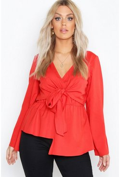 Red Plus Twist Front Blouse