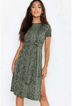 Khaki Petite Snake Print Belted Midi Dress