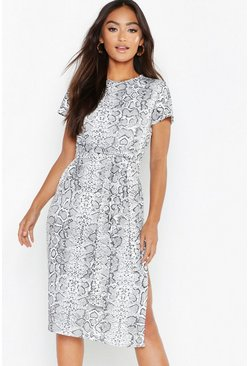 White Petite Snake Print Belted Midi Dress
