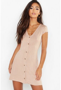 Camel beige Petite Cap Sleeve Button Polka Dot Shift Dress