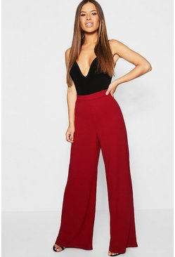 Berry Petite High Waisted Wide Leg Trouser