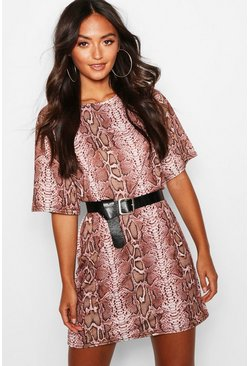 Rose pink Petite Snake Print Oversized T-Shirt Dress
