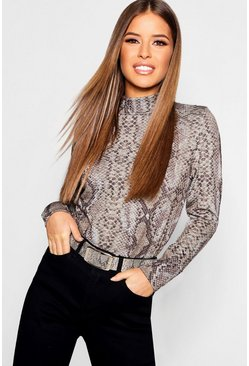 Grey Petite Snake Print Turtleneck