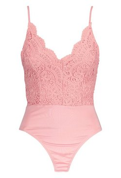 Blush Petite Scallop Edge Strappy Lace Bodysuit