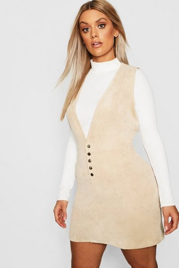 Stone beige Plus Cord Popper Plunge Shift Dress