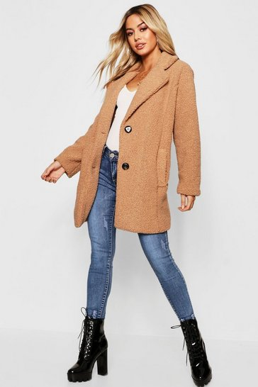 Camel beige Petite Button Through Teddy Coat