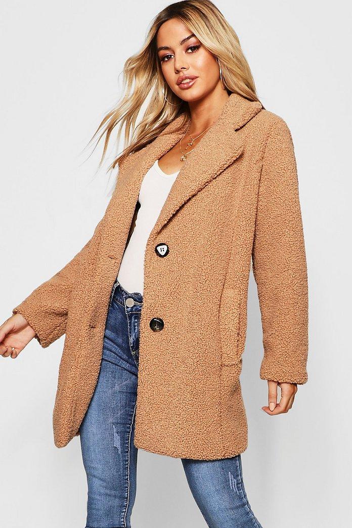 Petite Button Through Teddy Coat | Boohoo UK
