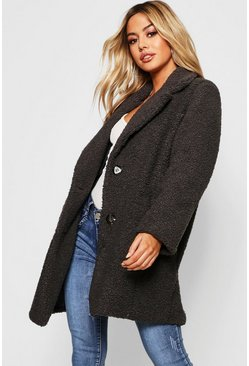 Grey Petite Button Through Teddy Coat