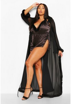 Black Plus Gemma Collins Kimono Robe With Fluffy Trim