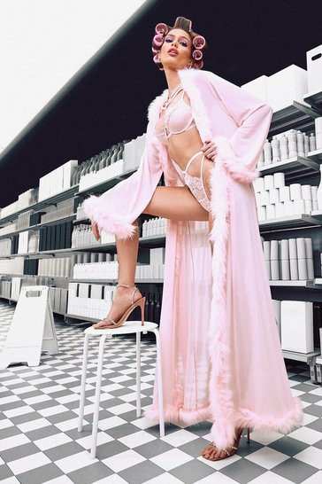 Pink Plus Gemma Collins Kimono Robe With Fluffy Trim