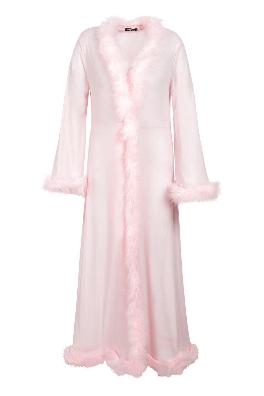 Vintage Lingerie | New Underwear, Bras, Slips Womens Plus Gemma Collins Kimono Robe With Fluffy Trim - Pink - 16 $19.20 AT vintagedancer.com