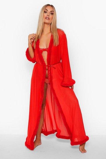 Red Plus Gemma Collins Kimono Robe With Fluffy Trim