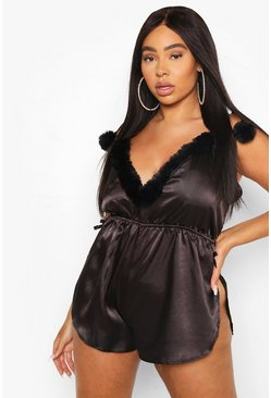 Black Gemma Collins Strappy Romper With Fluffy Trim