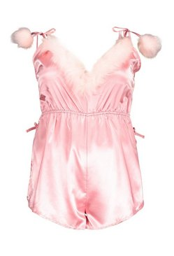Pink Gemma Collins Strappy Romper With Fluffy Trim
