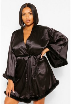 Black Gemma Collins Short Kimono Robe With Fluffy Sleeve