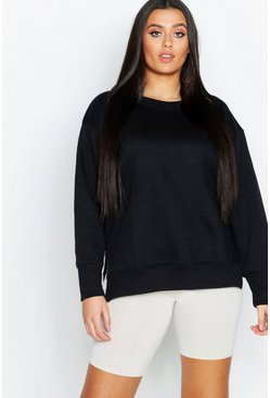 Black Plus Split Side Sweat Shirt