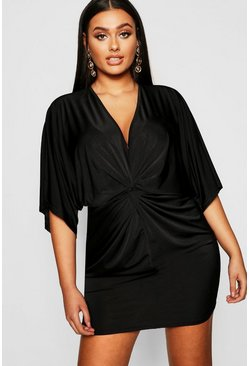 Black Plus Disco Slinky Twist Front Dress