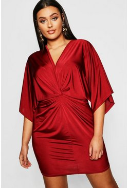 Wine red Plus Disco Slinky Twist Front Dress