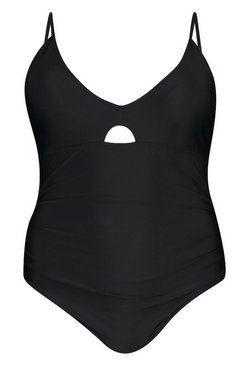 Black Plus Ruched Control Swimsuit