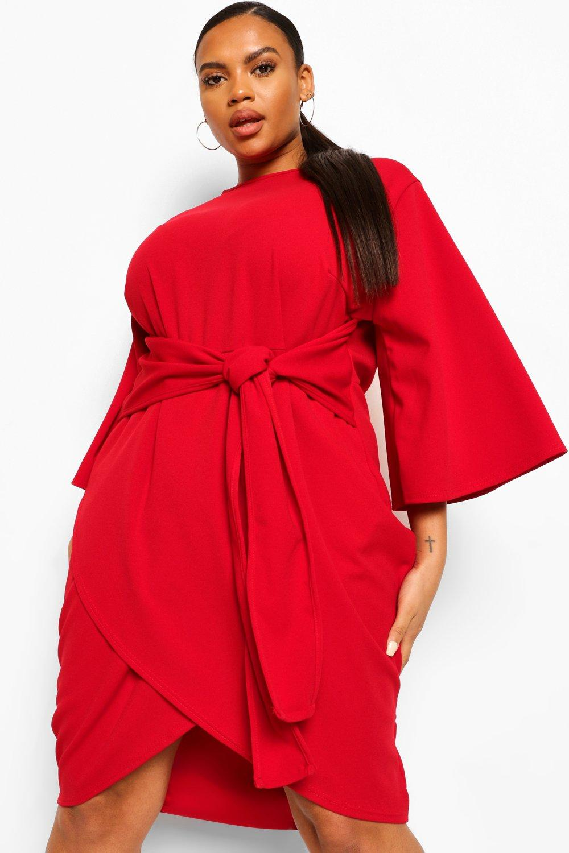 Plus Kimono Sleeve Tie Waist Wrap Dress 21