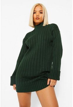 Green Petite Oversized Rib Knit Jumper Dress